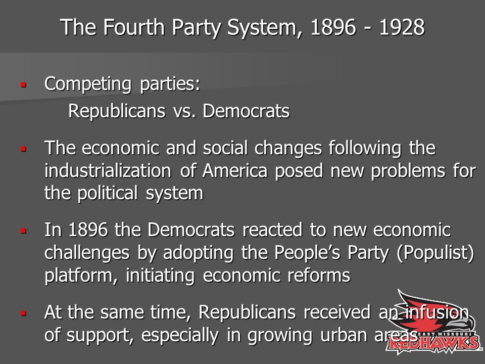 The Fourth Party System, 1896 - 1928