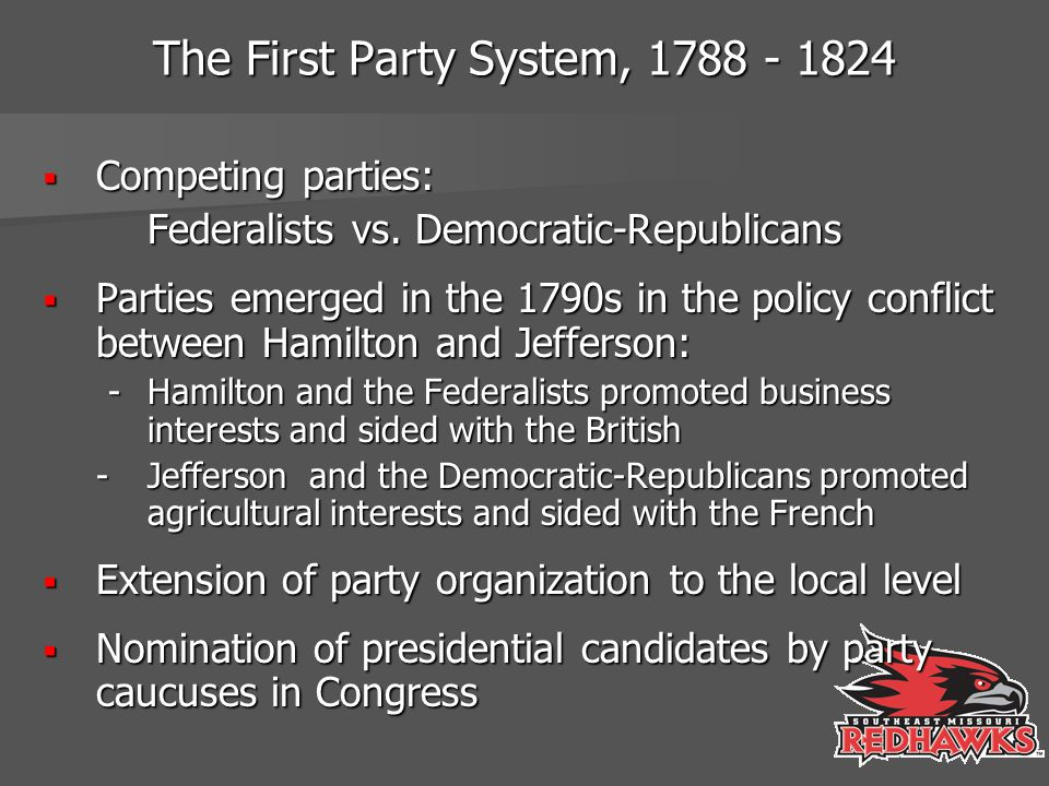 The First Party System, 1788 - 1824