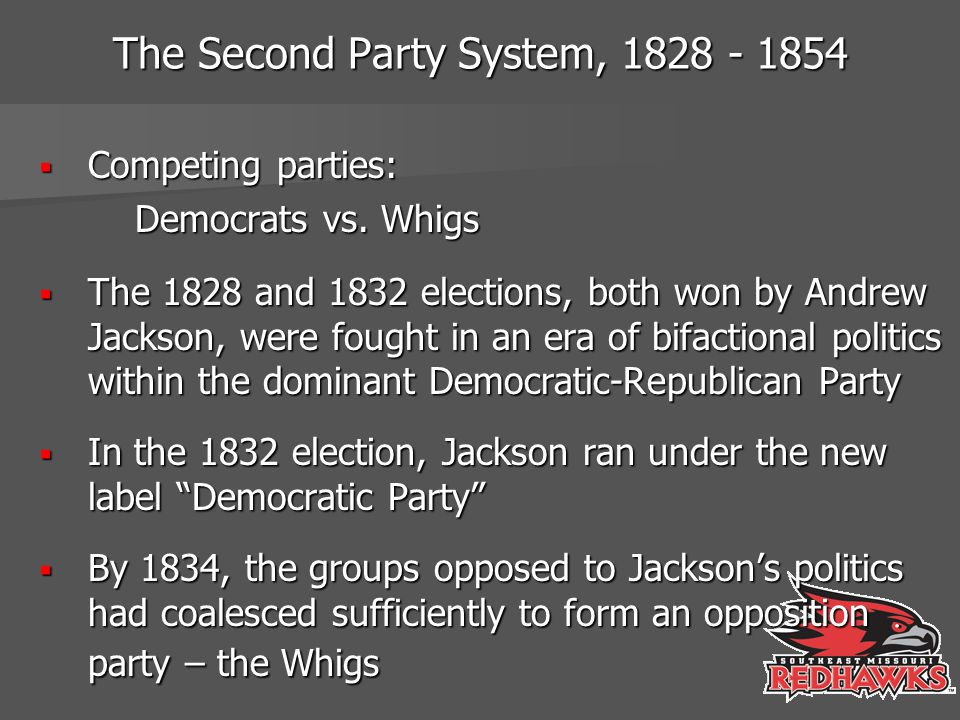 The Second Party System, 1828 - 1854