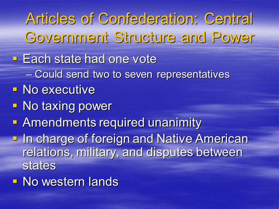 Articles of Confederation: Central Government Structure and Power