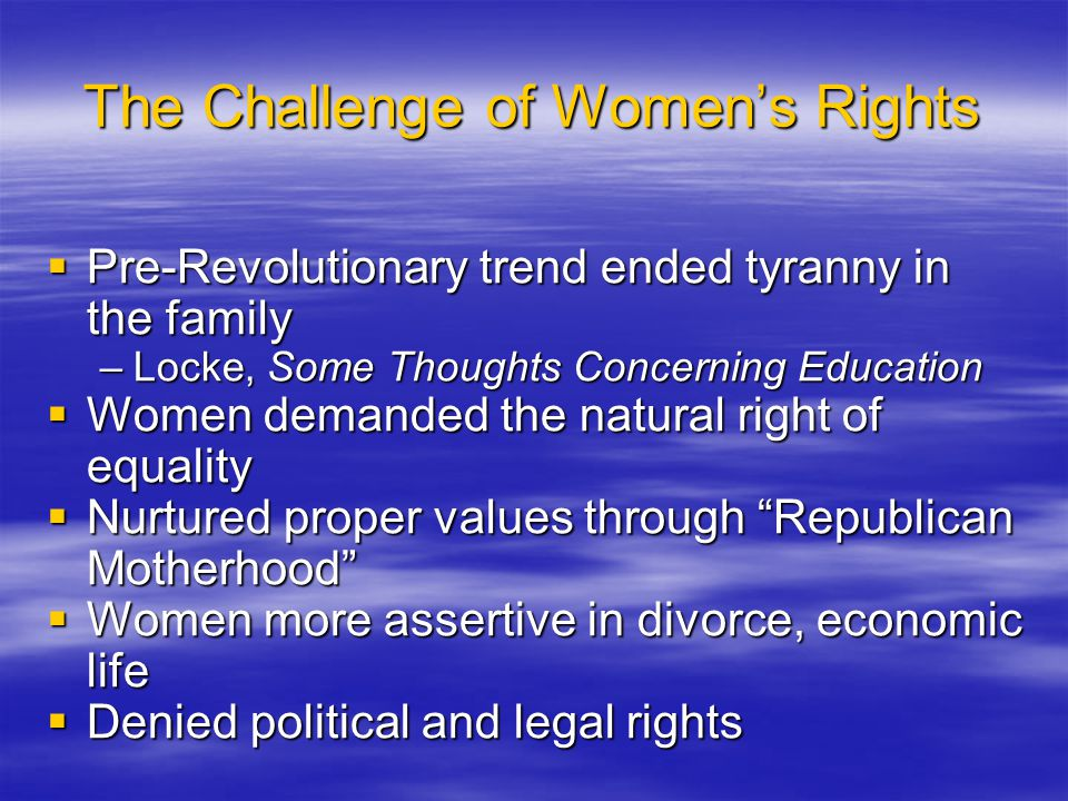 The Challenge of Women's Rights