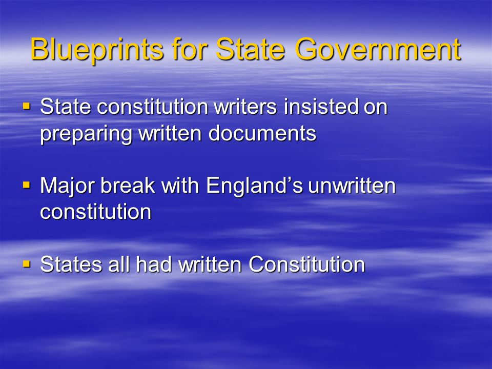 Blueprints for State Government