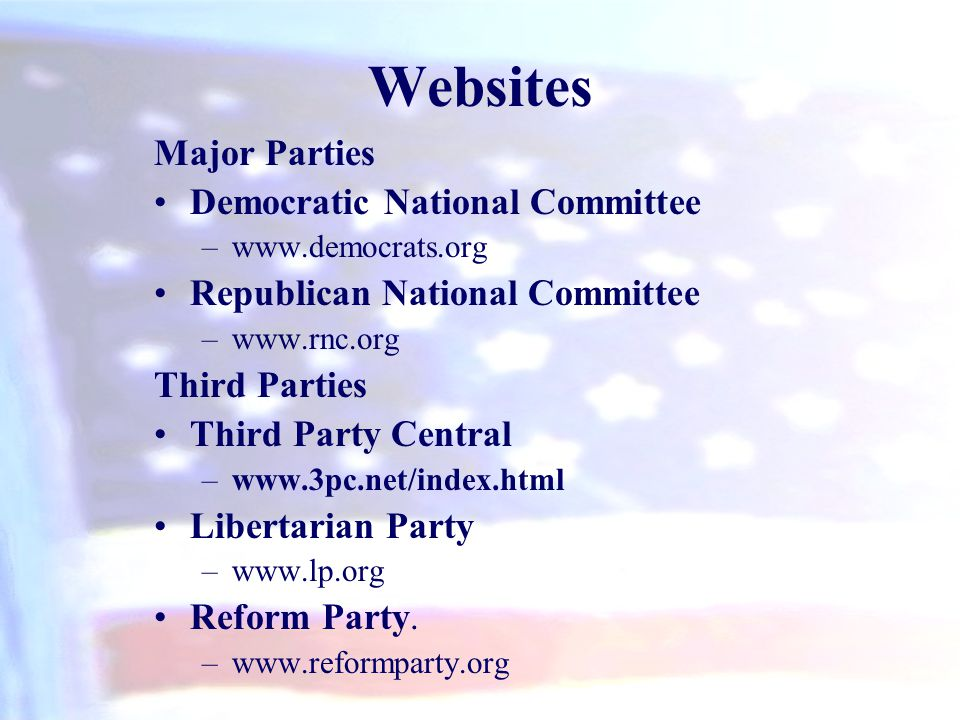Websites Major Parties Democratic National Committee