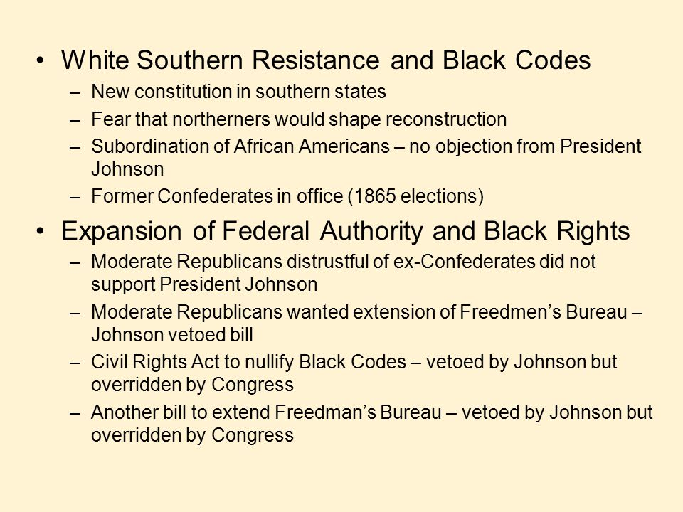 White Southern Resistance and Black Codes