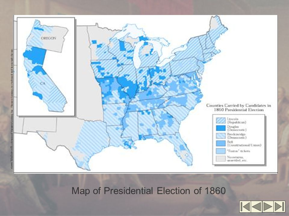 Map of Presidential Election of 1860