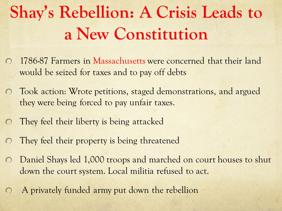 Shay's Rebellion: A Crisis Leads to a New Constitution