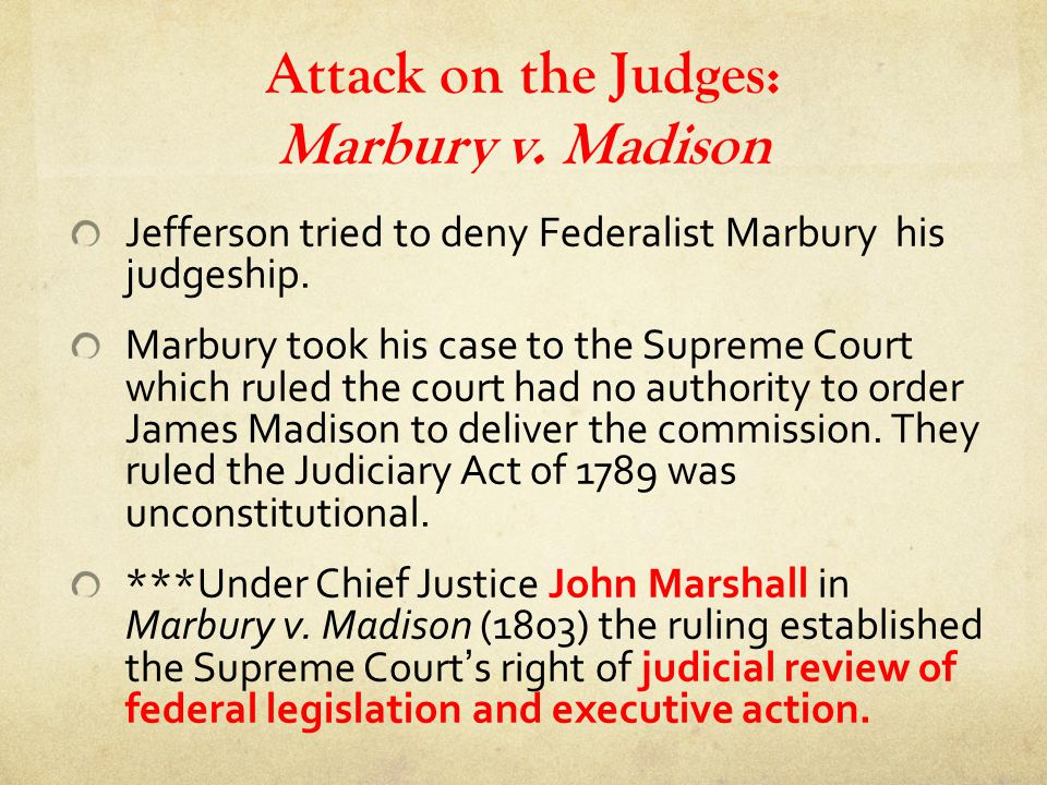 Attack on the Judges: Marbury v. Madison