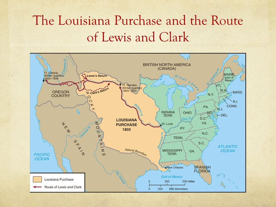 The Louisiana Purchase and the Route of Lewis and Clark