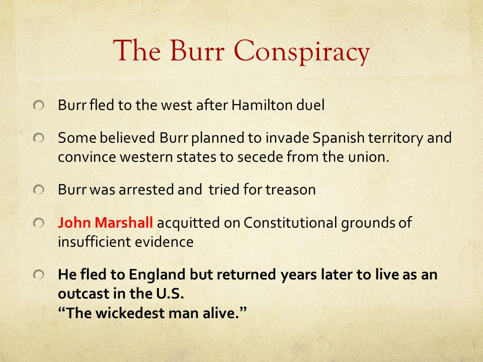 The Burr Conspiracy Burr fled to the west after Hamilton duel
