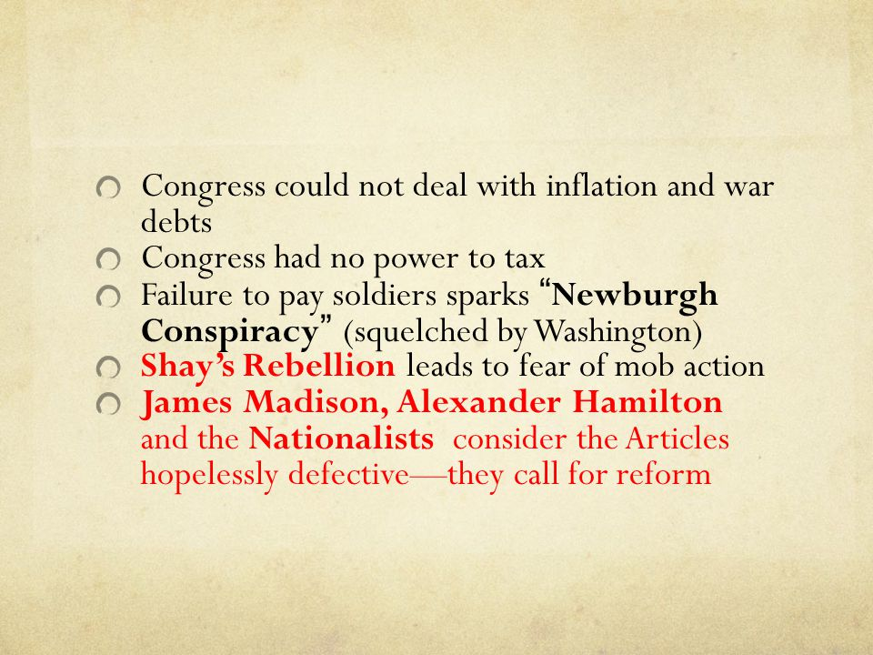 Congress could not deal with inflation and war debts