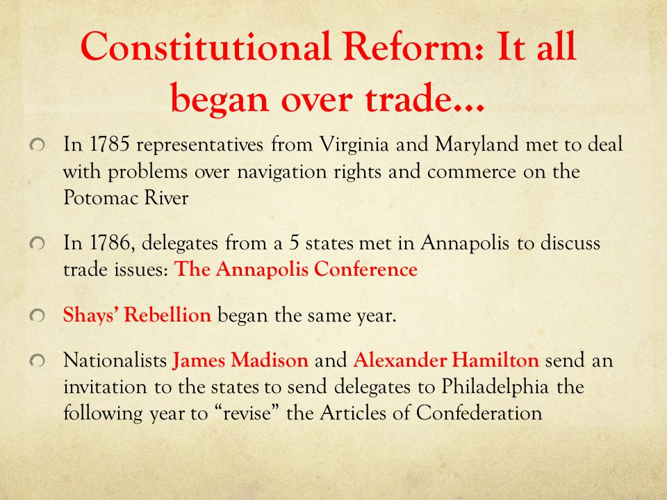 Constitutional Reform: It all began over trade…