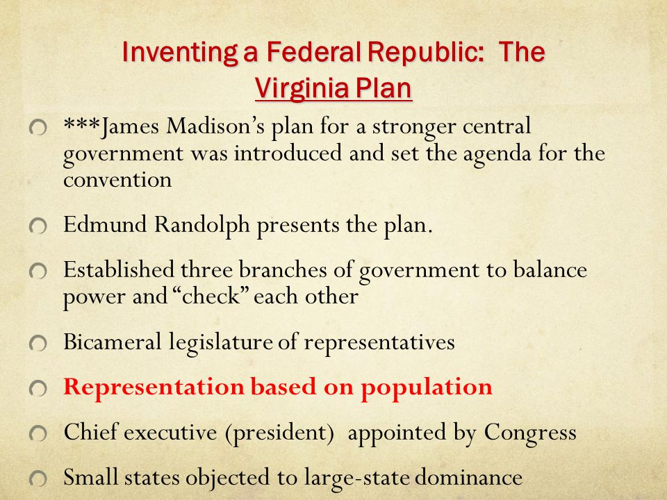 Inventing a Federal Republic: The Virginia Plan