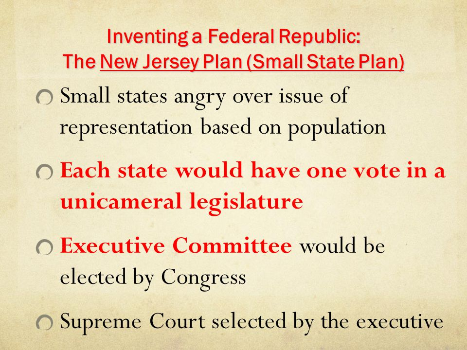 Inventing a Federal Republic: The New Jersey Plan (Small State Plan)