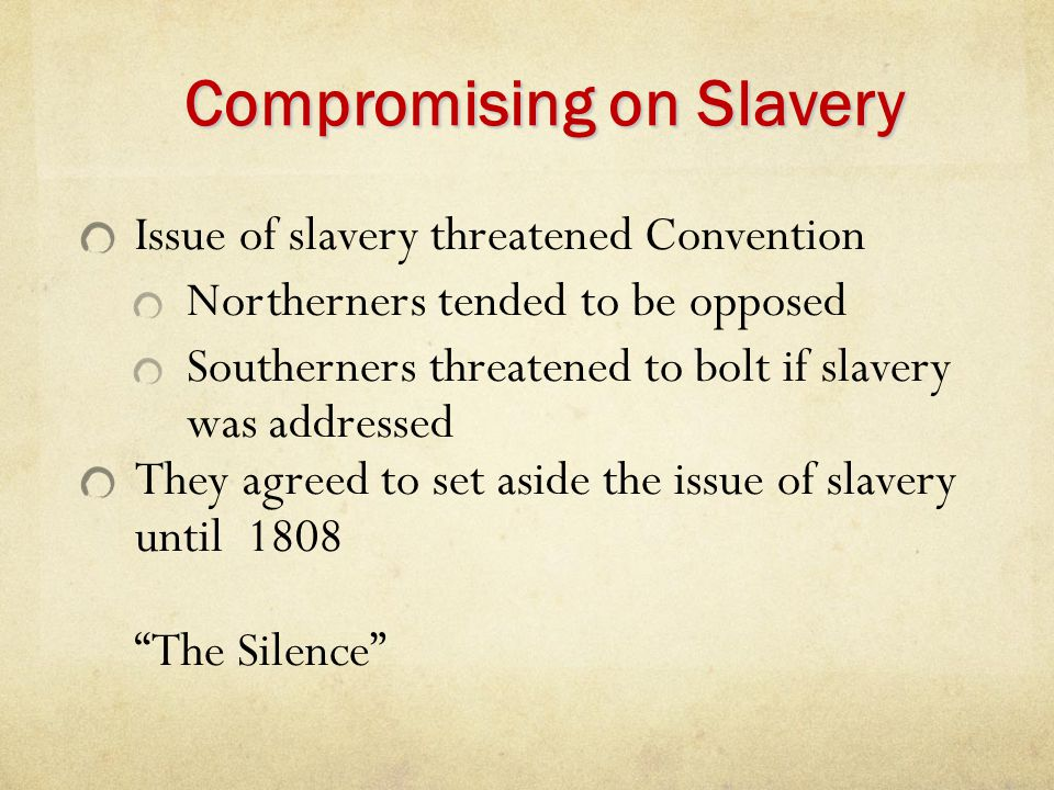 Compromising on Slavery