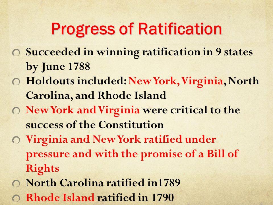 Progress of Ratification