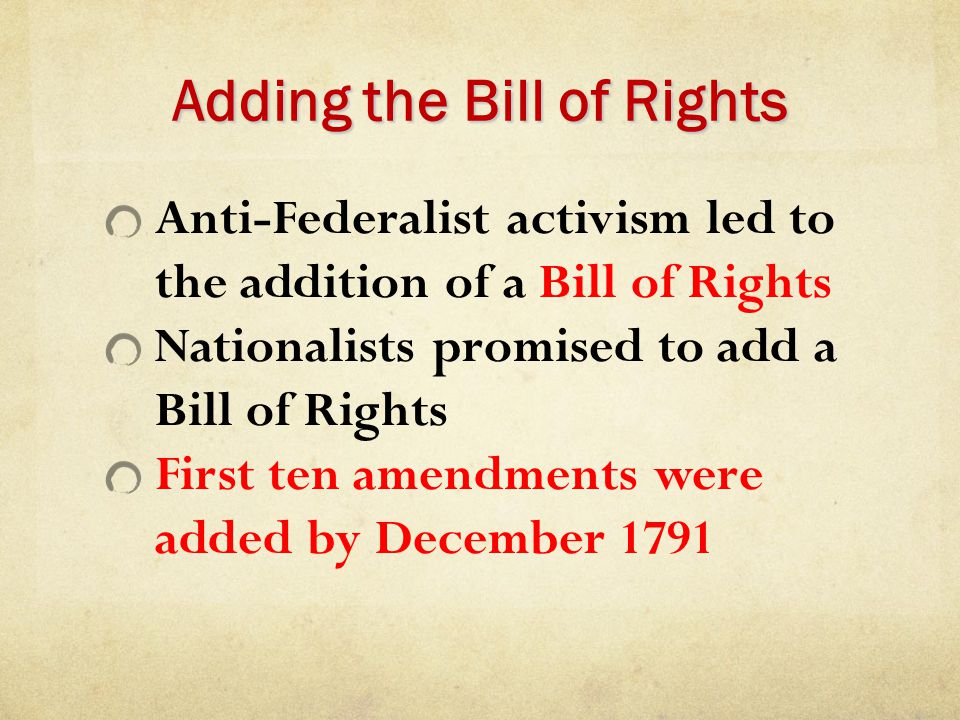 Adding the Bill of Rights