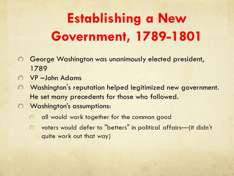 Establishing a New Government, 1789-1801