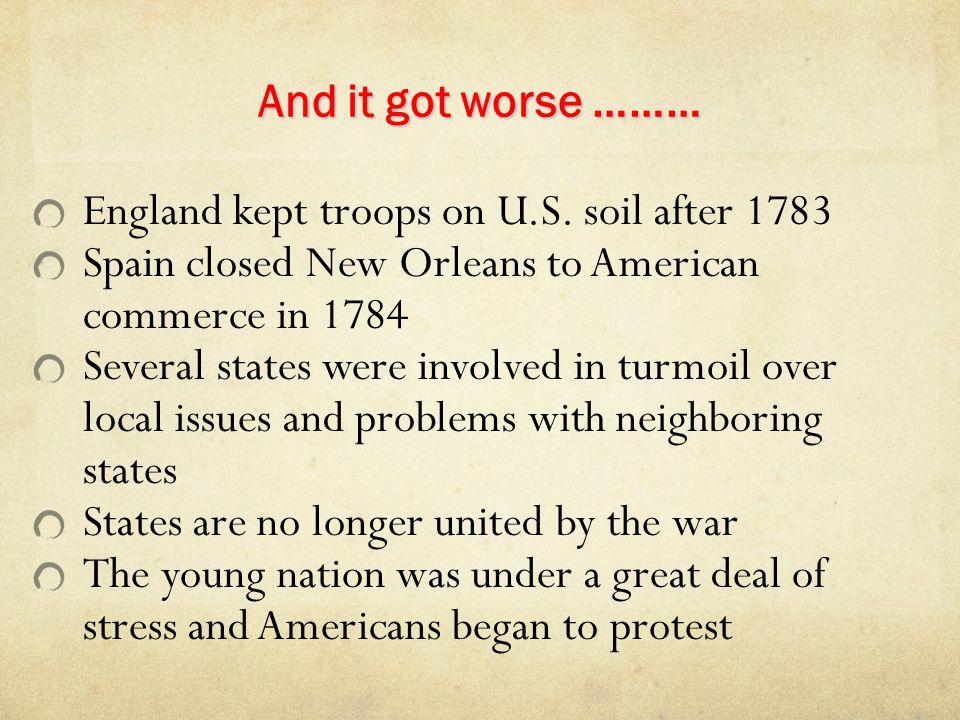 England kept troops on U.S. soil after 1783
