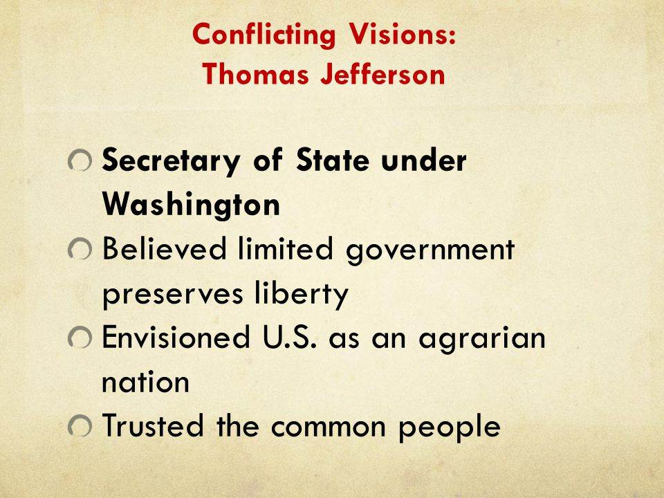 Conflicting Visions: Thomas Jefferson