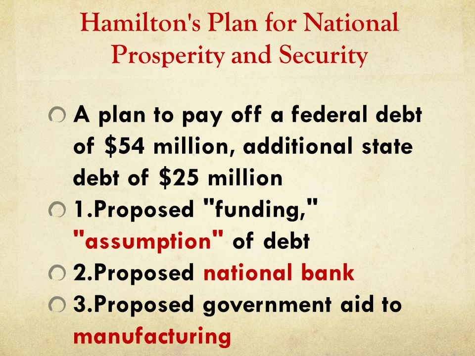 Hamilton s Plan for National Prosperity and Security