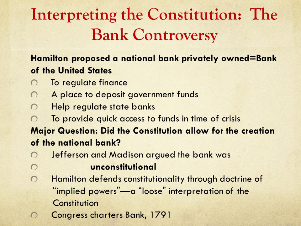 Interpreting the Constitution: The Bank Controversy