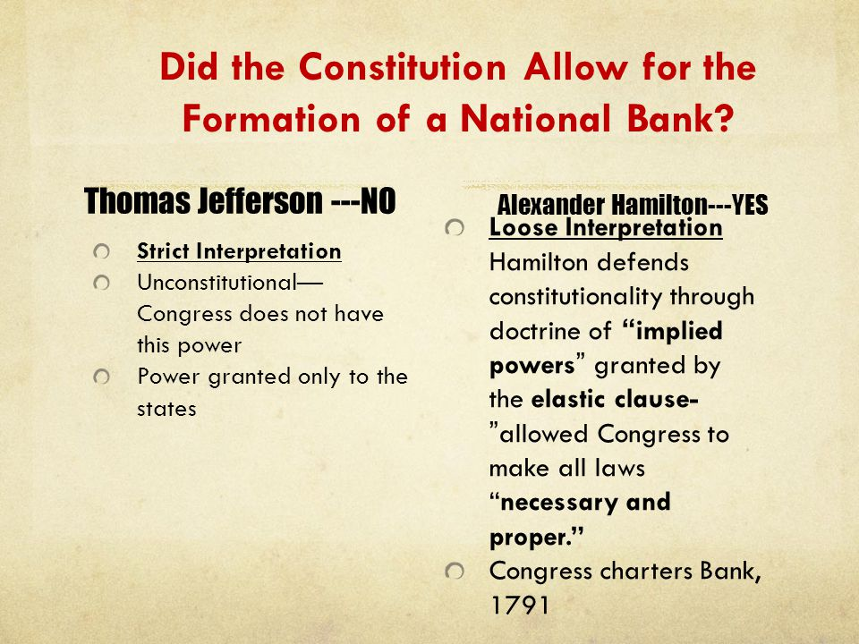 Did the Constitution Allow for the Formation of a National Bank