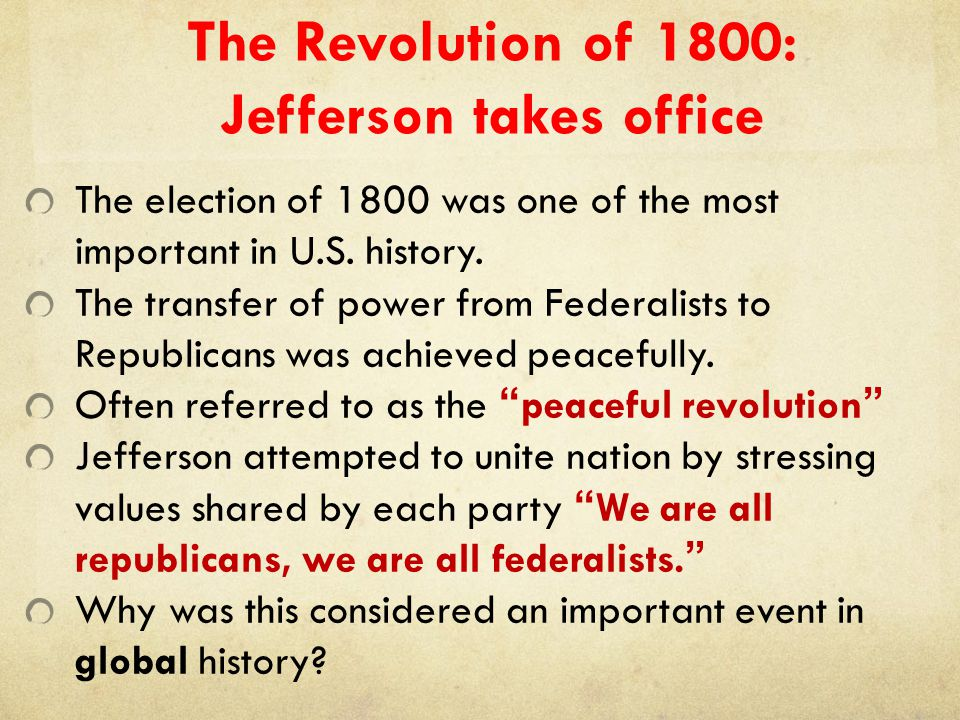 The Revolution of 1800: Jefferson takes office