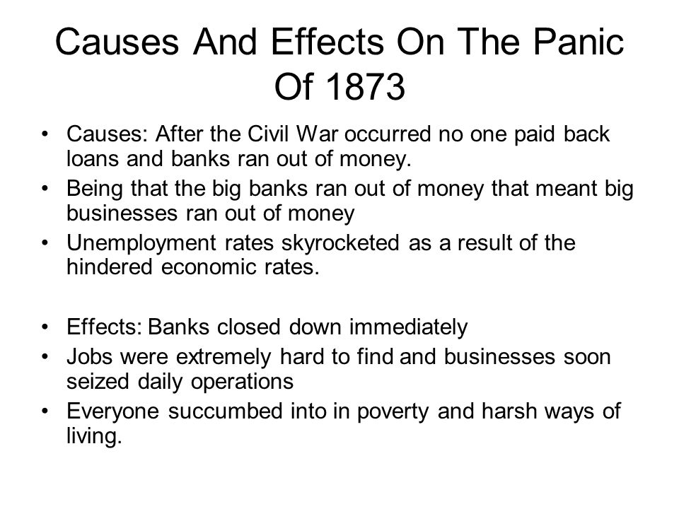 Causes And Effects On The Panic Of 1873