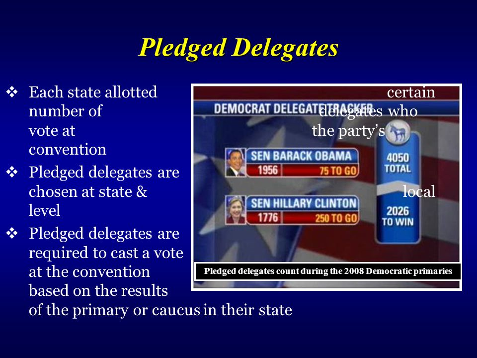 Pledged delegates count during the 2008 Democratic primaries