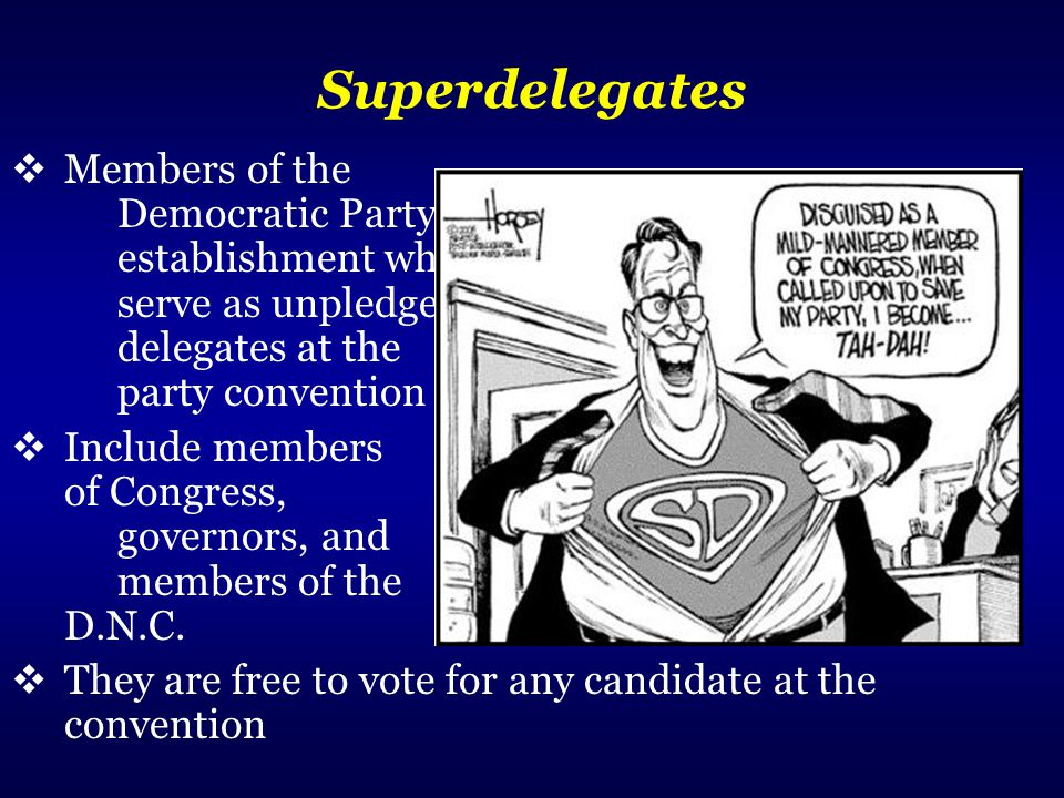 Superdelegates Members of the Democratic Party establishment who serve as unpledged delegates at the party convention.