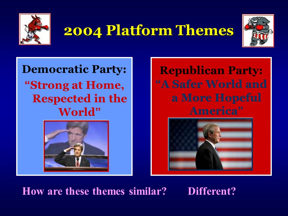 2004 Platform Themes Democratic Party: