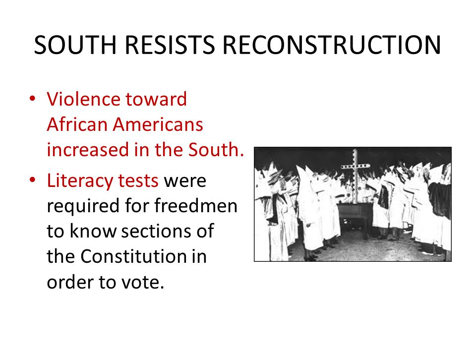 SOUTH RESISTS RECONSTRUCTION