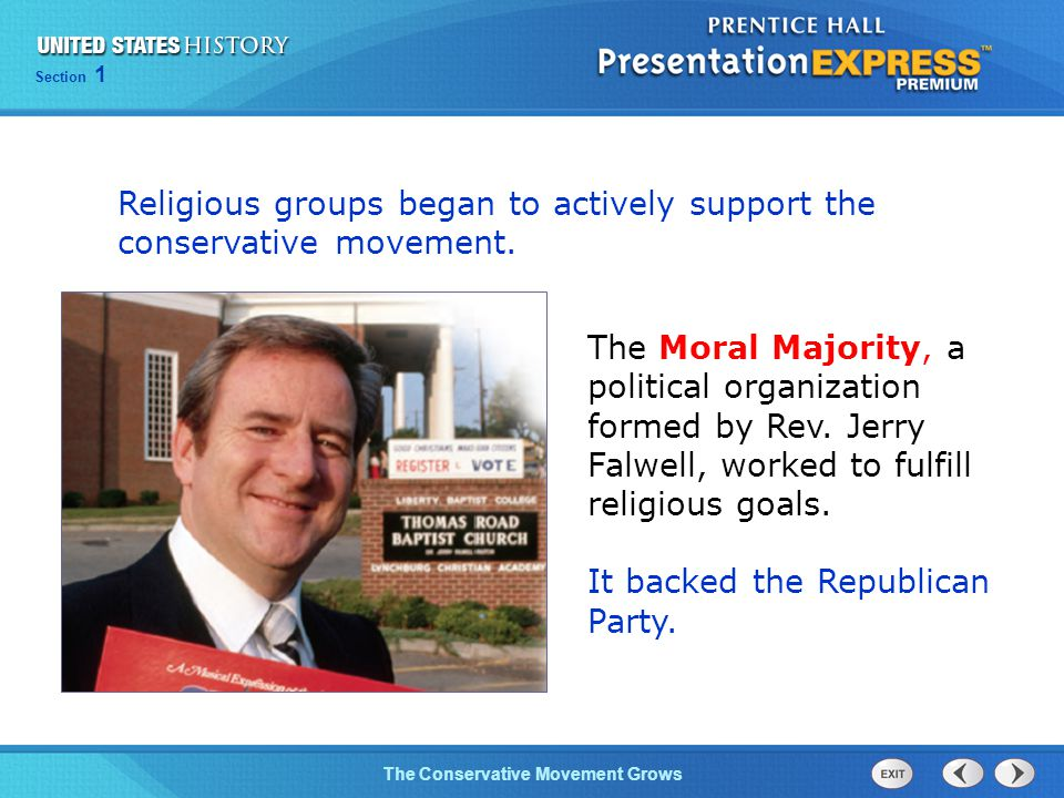 Religious groups began to actively support the conservative movement.