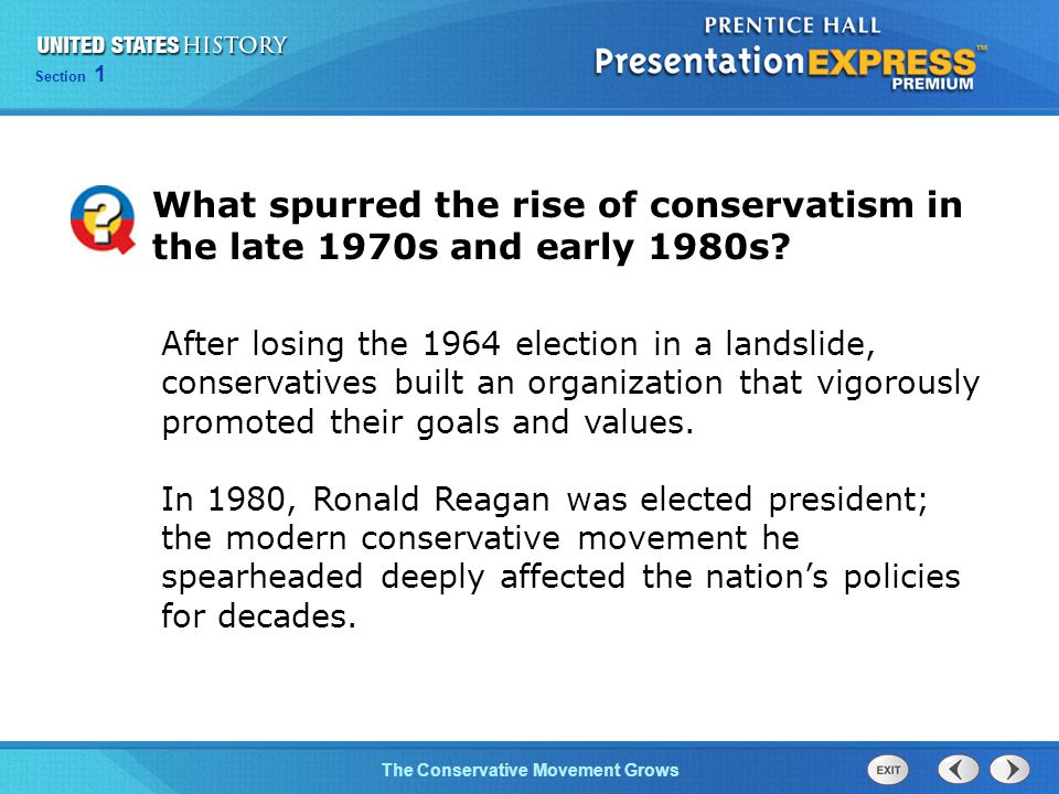 What spurred the rise of conservatism in the late 1970s and early 1980s