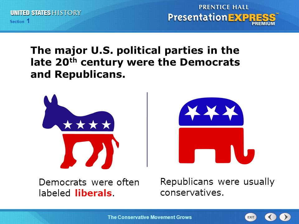 The major U.S. political parties in the late 20th century were the Democrats and Republicans.