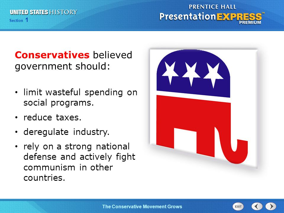 Conservatives believed government should: