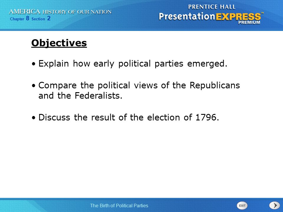 Objectives Explain how early political parties emerged.