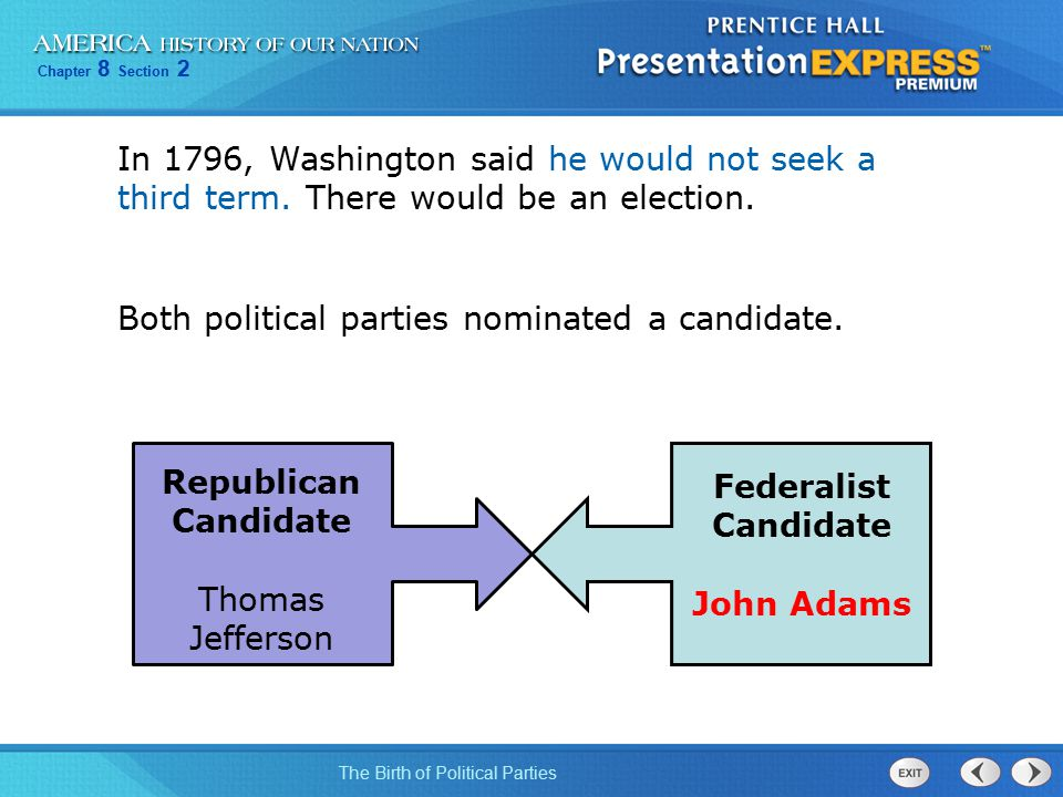 In 1796, Washington said he would not seek a third term