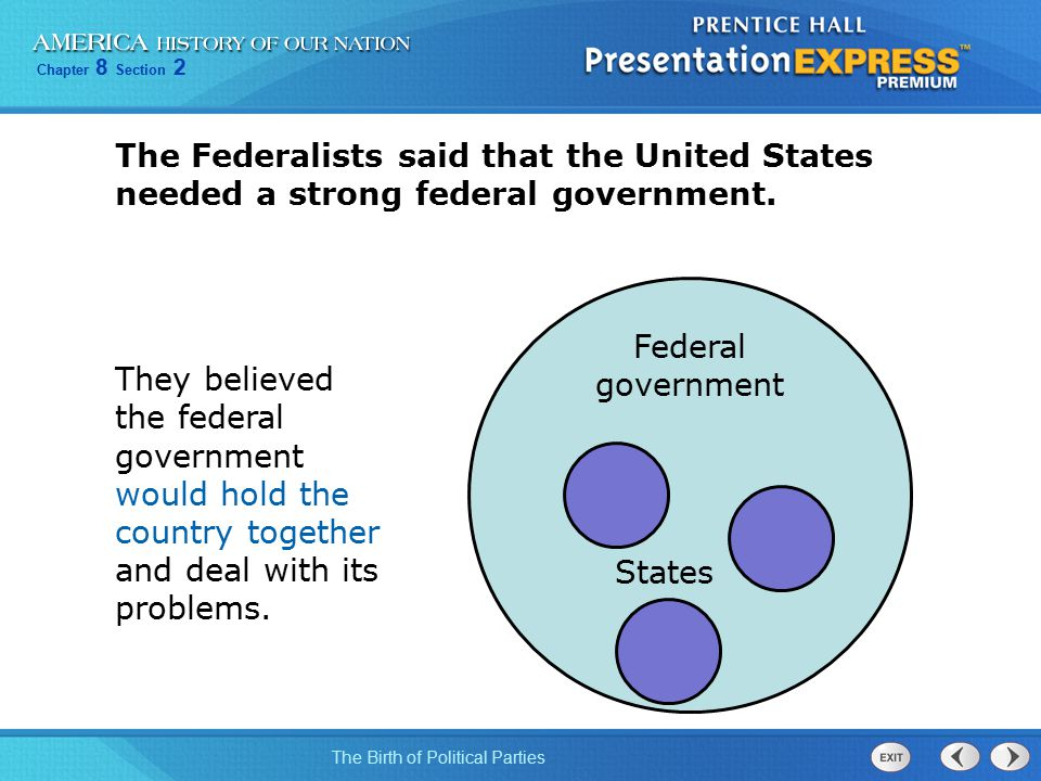 The Federalists said that the United States needed a strong federal government.