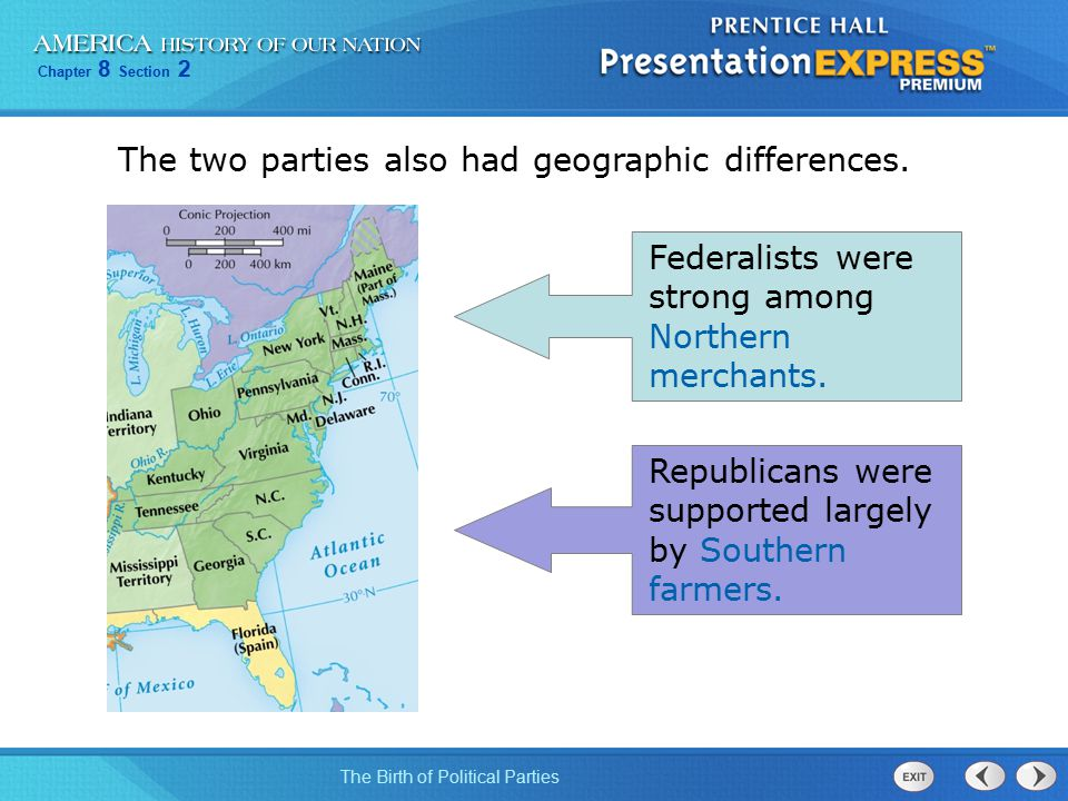 The two parties also had geographic differences.