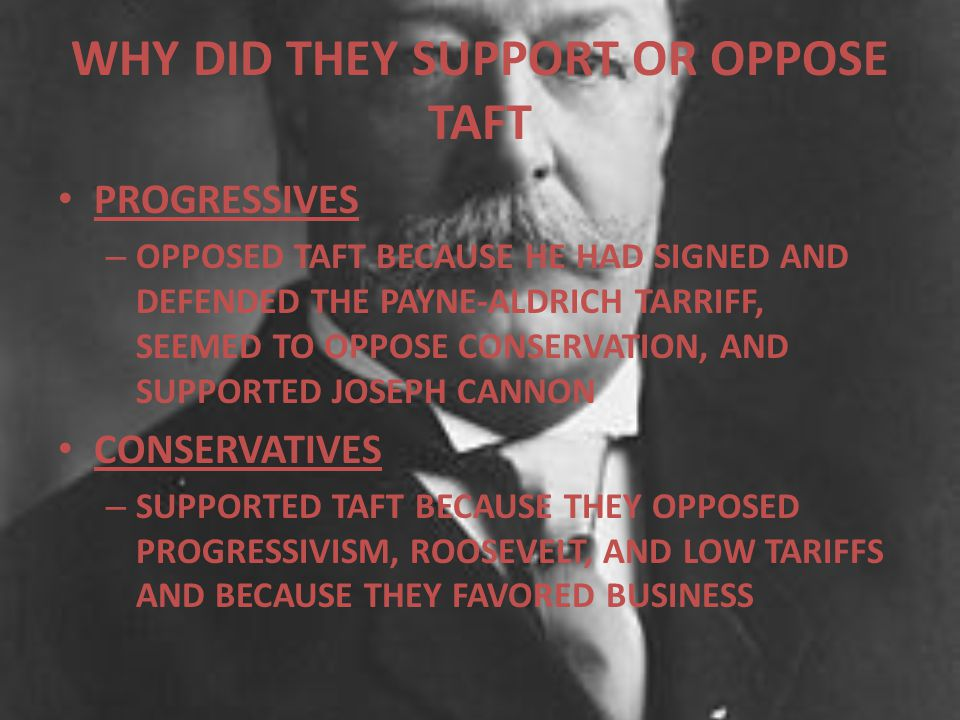 WHY DID THEY SUPPORT OR OPPOSE TAFT