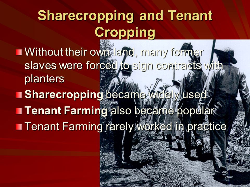Sharecropping and Tenant Cropping