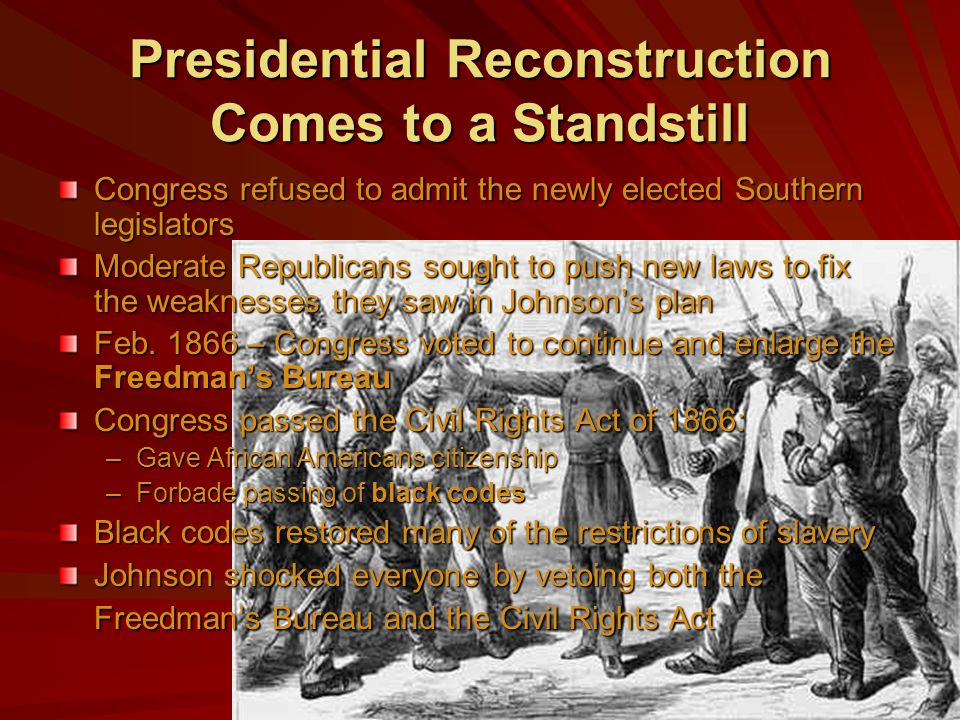 Presidential Reconstruction Comes to a Standstill
