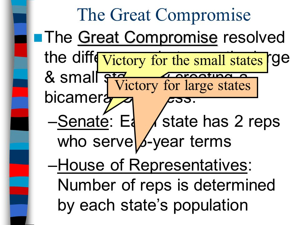 The Great Compromise The Great Compromise resolved the differences between the large & small states by creating a bicameral Congress: