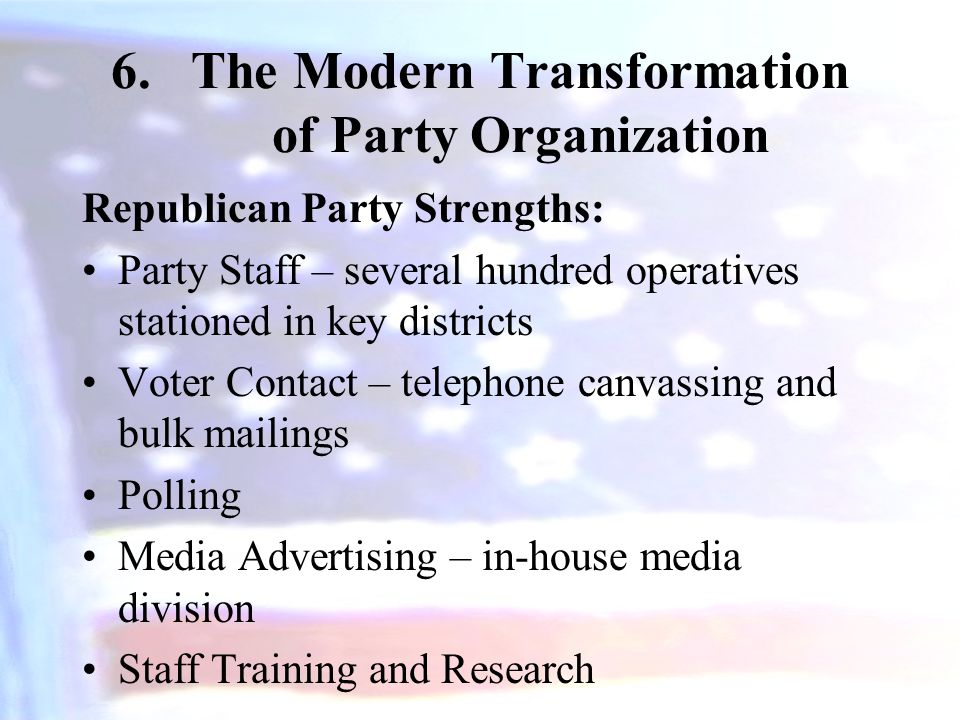 The Modern Transformation of Party Organization