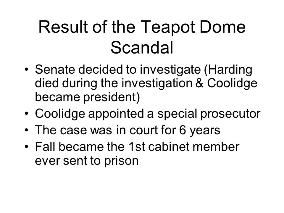 Result of the Teapot Dome Scandal