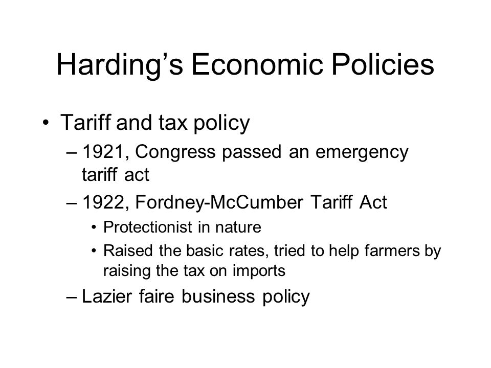 warren g hardings domestic policy of normalcy Major domestic policy: as a republican, harding was for increasing the protective tariff  what were important historical events during warren g hardings presidency.