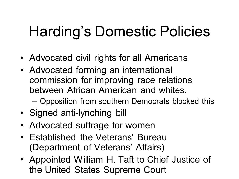 Harding's Domestic Policies