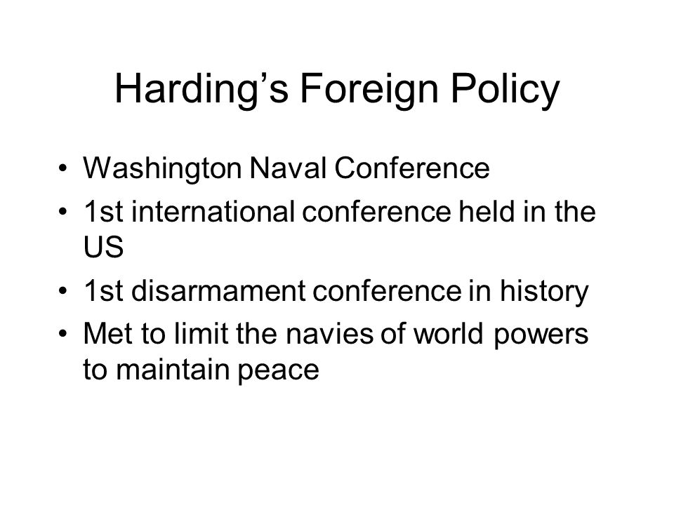 Harding's Foreign Policy