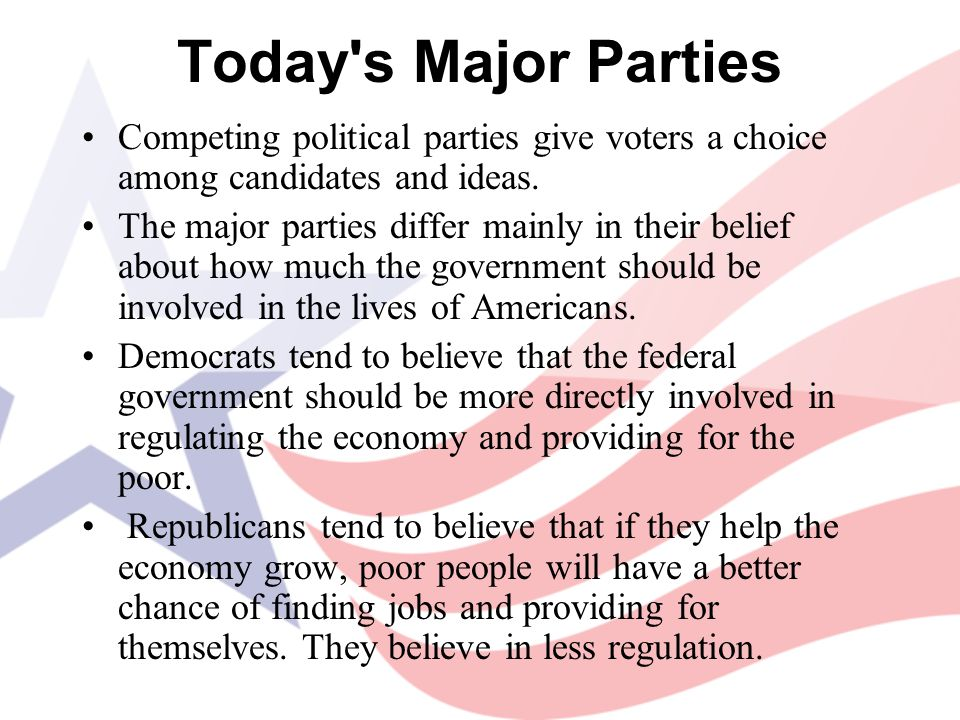 Today s Major Parties Competing political parties give voters a choice among candidates and ideas.